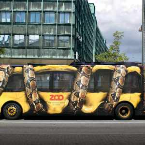 Copenhagen Zoo who covered a local bus in a custom design, which catches eyes all over the city!