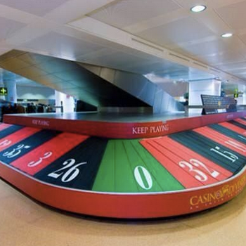 This is bang on. Luggage Roulette at the airport.
