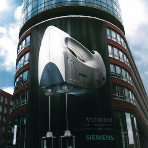 inspired use of revolving doors by Siemens.