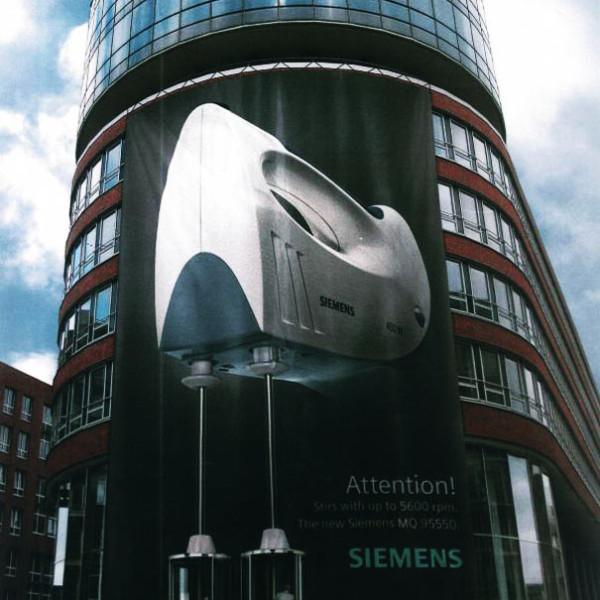 inspired use of revolving doors by Siemens.