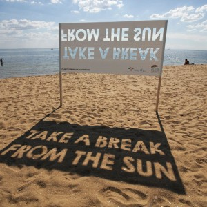 Very effective signage from skin cancer awareness campaigners.