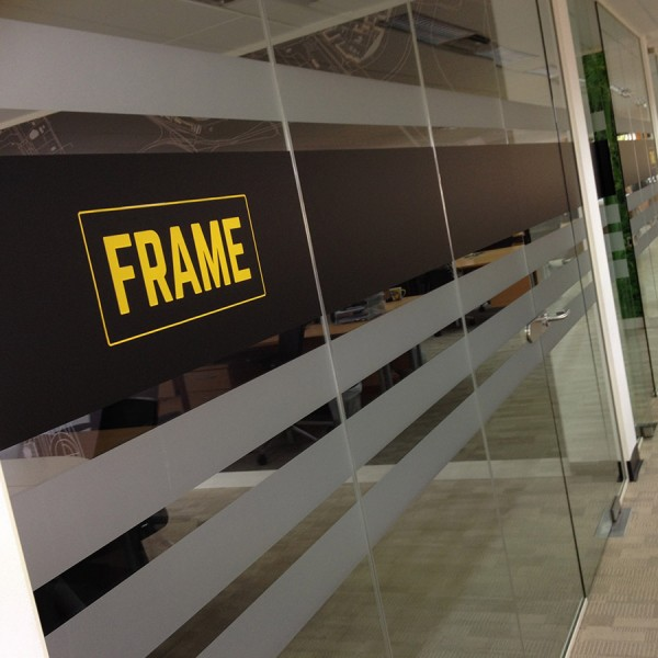 Frame Recruitment Interior Rebrand with Logo on glass partitions