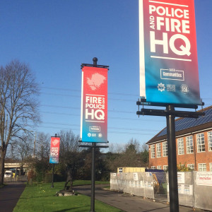 Hanging signs outside Poile and Fire HQ in Eastleigh Hampshire